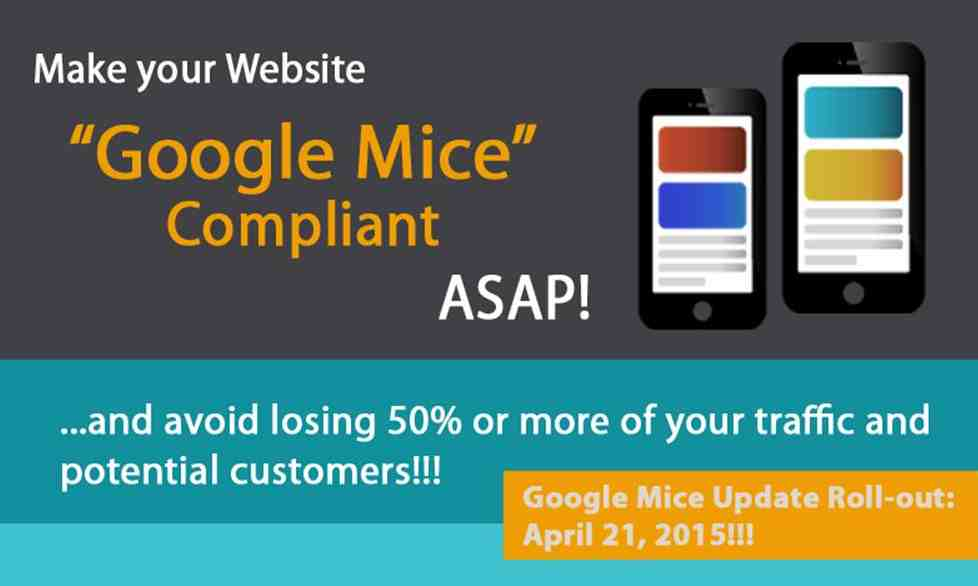 GOOGLE'S New Mice Update Algorithm april 21st 2015 Mobile Websites - Get One Here!